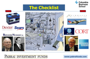 Mohnish Pabrai - The Checklist