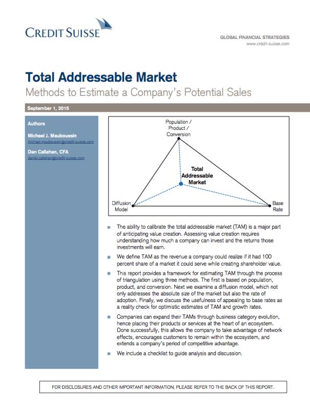 New Mauboussin Paper Total Addressable Market Incl Checklist