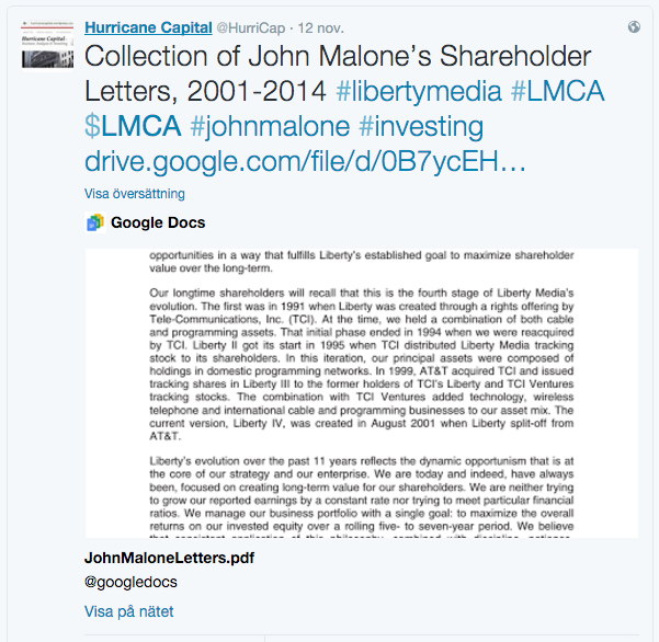 John Malone: Shareholder Letters, CNBC Interview and Cable Cowboy